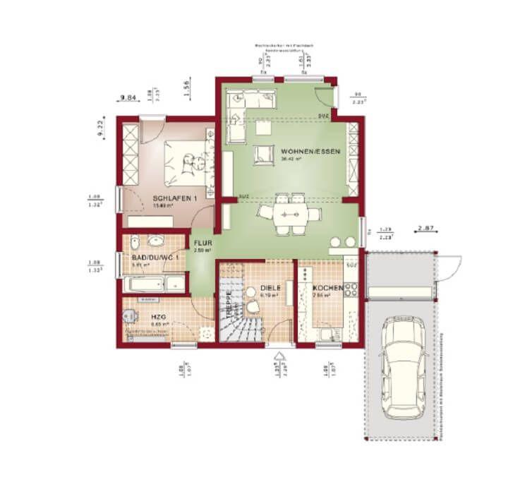 Grundriss Einfamilienhaus - Haus Solution 151 V4 Living Haus - küche mit kochinsel grundriss