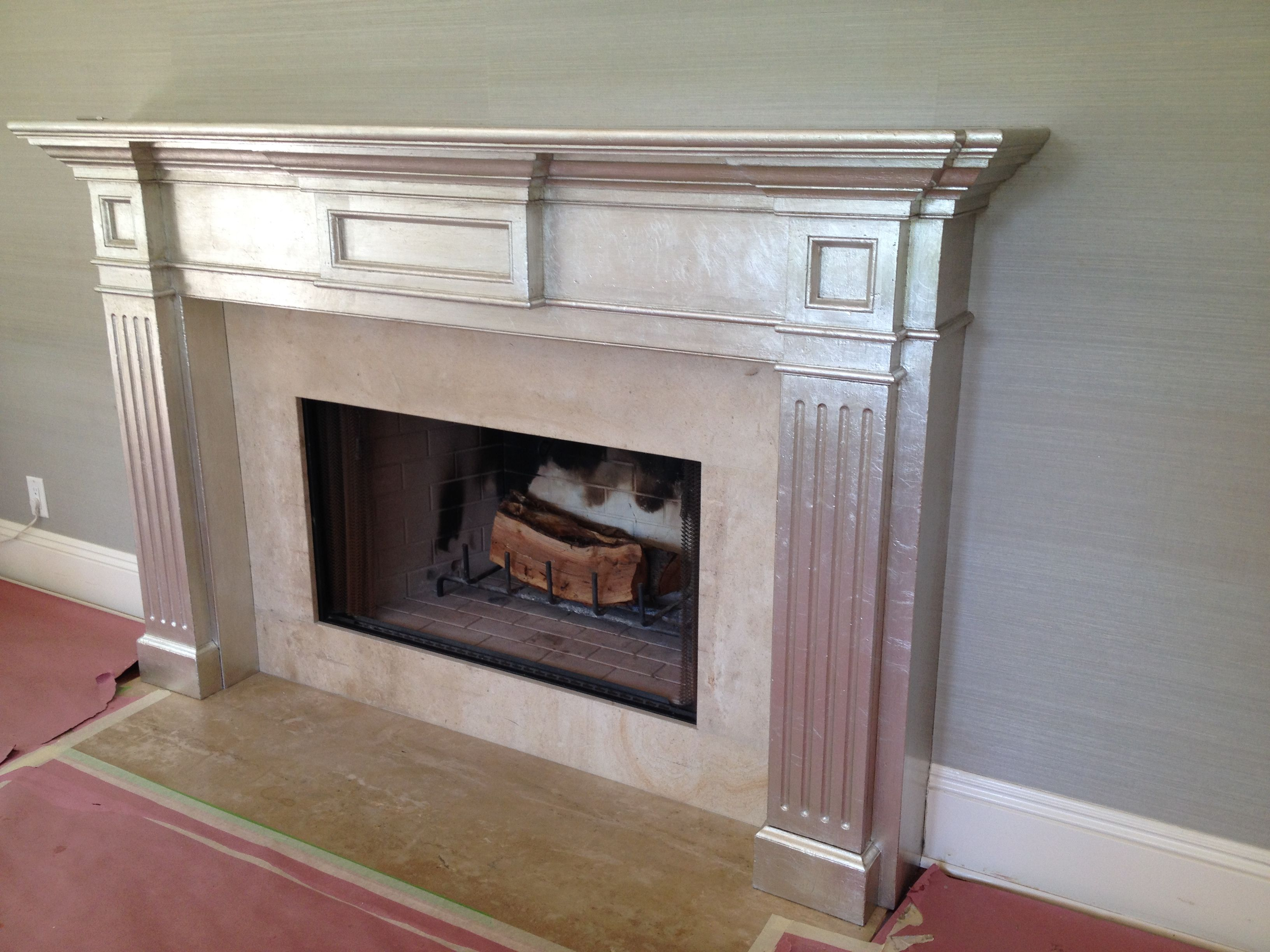 Silver Leaf on wood mantel. Fireplace makeover. By artist Allison ...