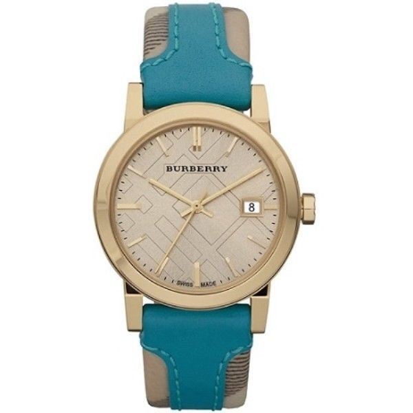 f325d5994c06 New Burberry Unisex watch Heritage Aqua Large Check Leather Sapphire 38MM  BU9018