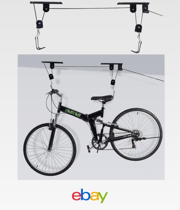 Universal Bicycle Ceiling Hoist Pulley System Strong Mount Hanger Bike Garage