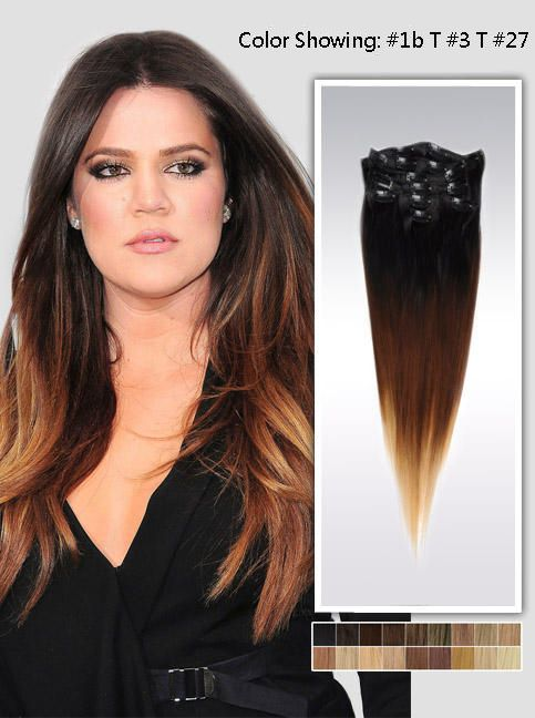 20 Three Colors Ombre Indian Remy Clip In Hair Extension Uso520 8