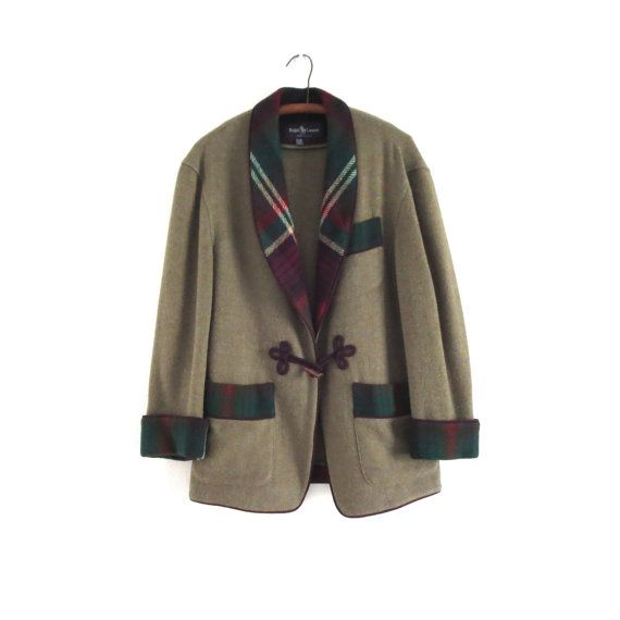Vintage Ralph Lauren wool jacket casual jacket, loden green jacket, shawl collar, English country jacket 1990s Ralph Lauren blazer Womens