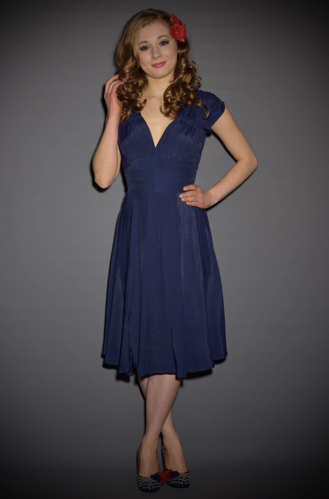 Trashy Diva 1940s Dress In Navy Rayon At Official UK Stockists Deadly Is The Female