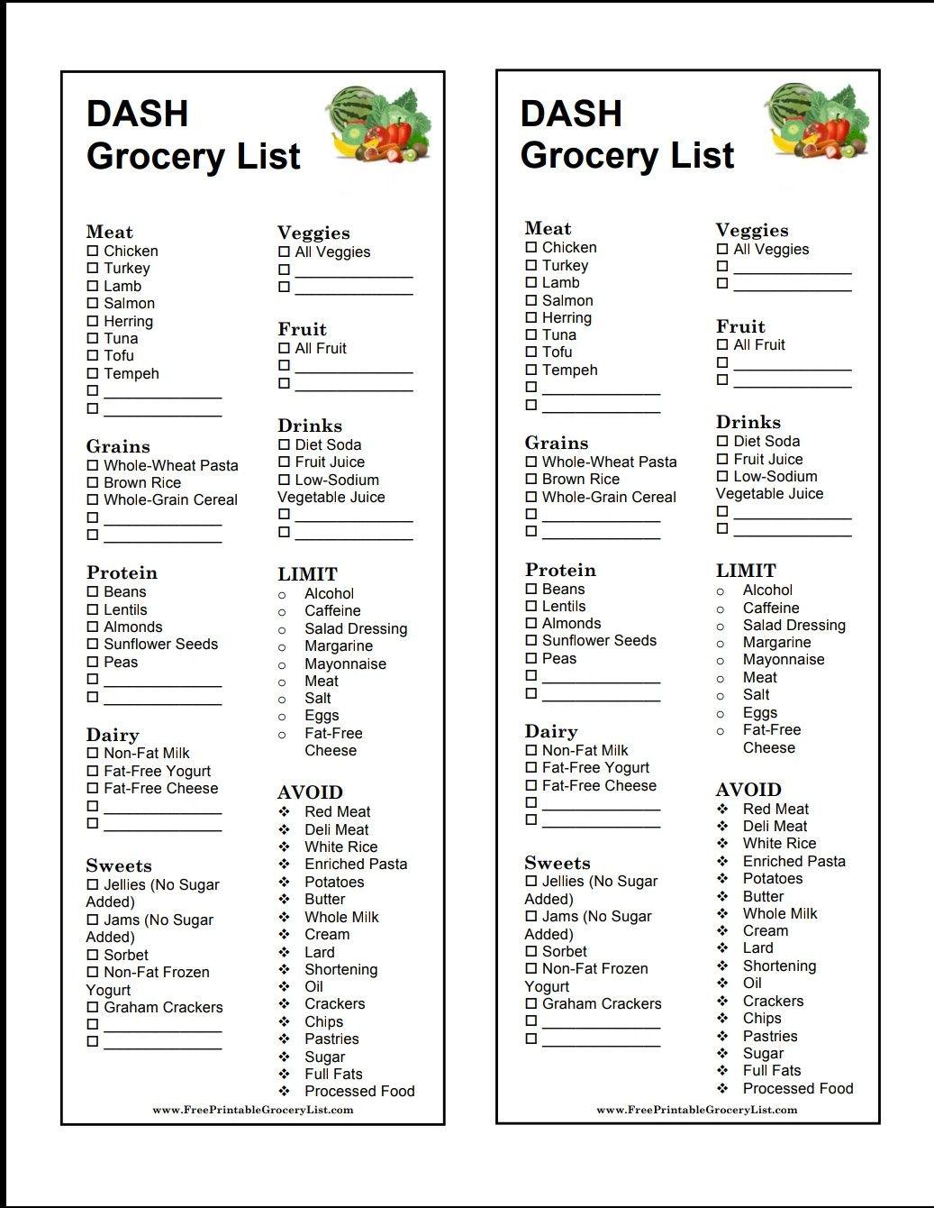 Dash Diet Grocery List Dash Diet Meal Plan Dash Diet Recipes Diet Grocery Lists