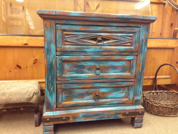 Wood End Table, Small Dresser, Distressed, Chippy, Desert Turquoise, Red U0026