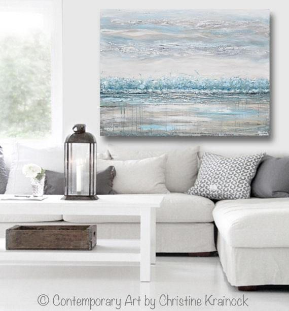 Peace And Calm Original Art Abstract Painting Horizon Landscape Trees Blue Teal Turquoise White Grey Taupe Beige Modern Textured Palette Knife Fine