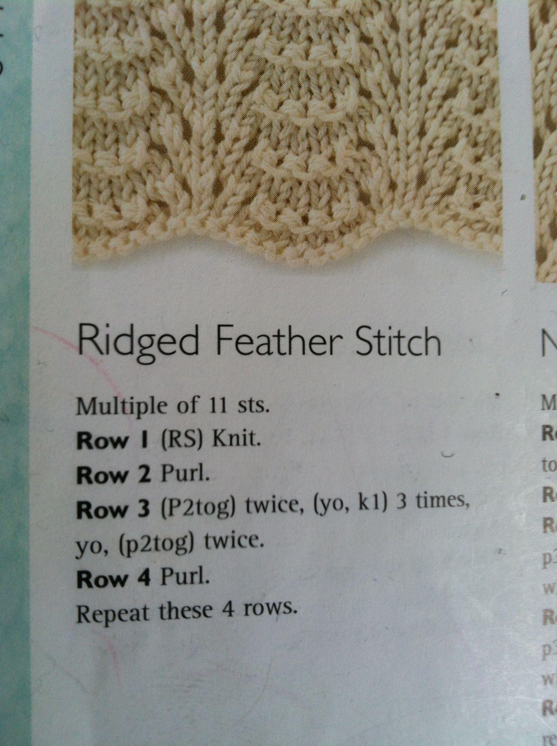 Knitting Instructions M1 : Ridged feather stitch knitting pinterest beautiful