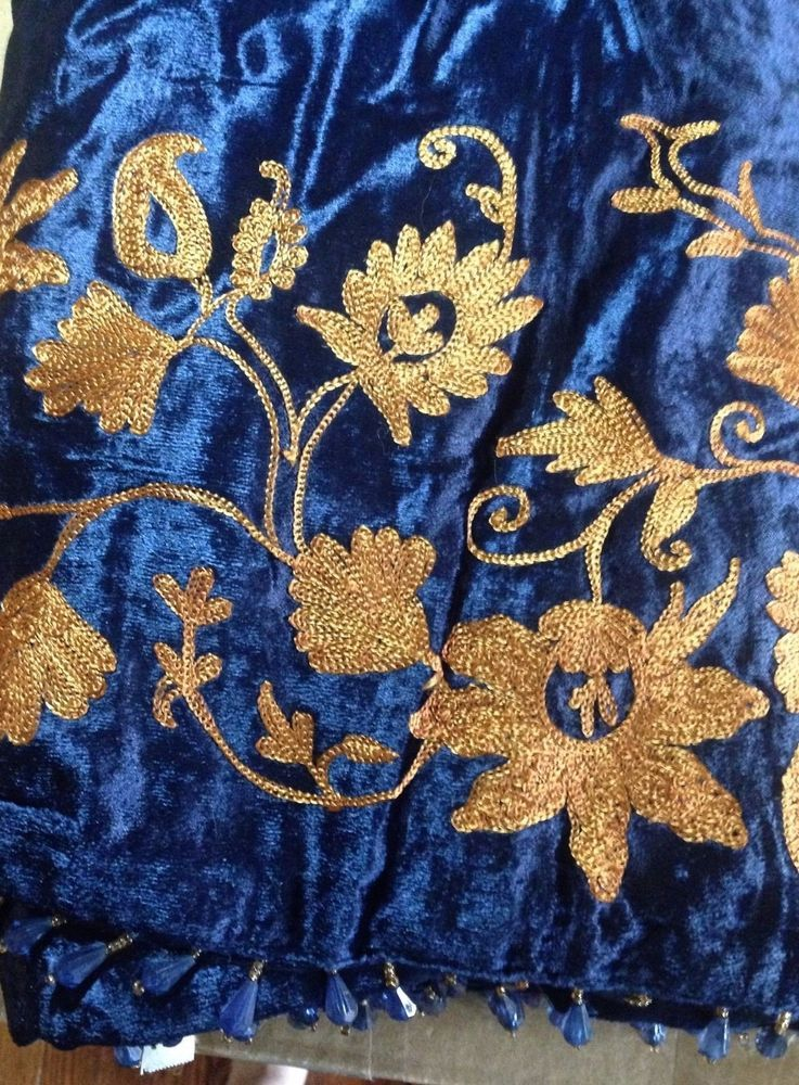 New Without Tags Embroidered Velvet Throw 50 x 60 Navy Blue Beads ...