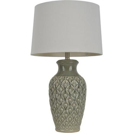 Green Carved Ceramic Table Lamp Walmart Com Ceramic Table Lamps Lamp Decor Therapy