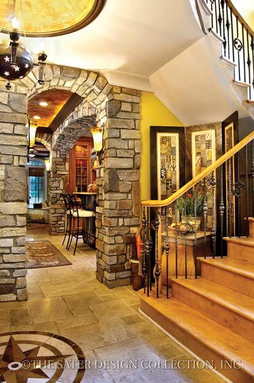 "Entry Foyer. The Sater Design Collection's luxury, European home plan ""Wulfert Point"" (Plan #6688). saterdesign.com"