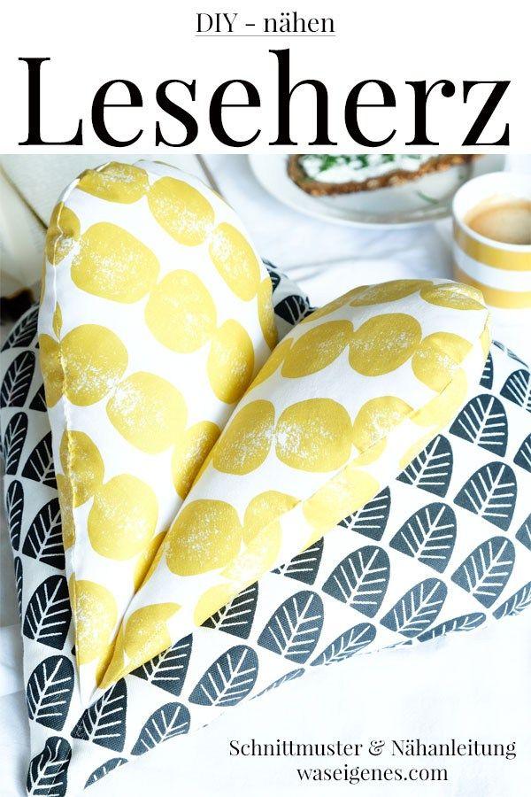 Leseherz Kissen | Nähen | Pinterest | Sewing, Knitting und Sewing ...