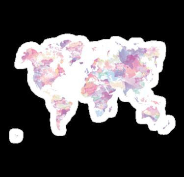 Continents Sticker By Palegrungelouis Water Color World Map Mac Wallpaper Macbook Wallpaper