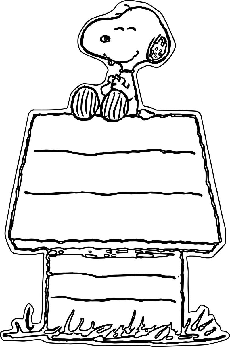 Snoopy On Dog House Free Coloring Page