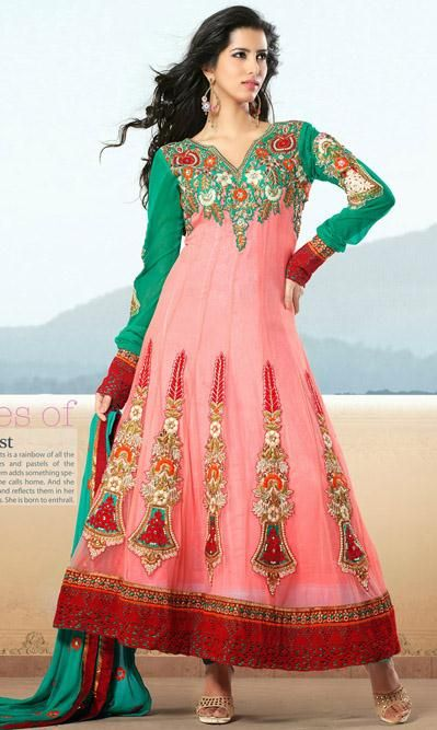 USD 110.84 Pink A Line Embroidered Faux Georgette Anarkali Suit28111