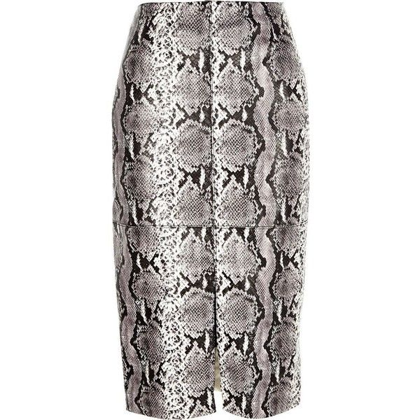 7cda8de6be River Island Black snake print split front pencil skirt ($30) ❤ liked on  Polyvore featuring skirts, black, sale, women, pencil skirt, tube pencil  skirt, ...