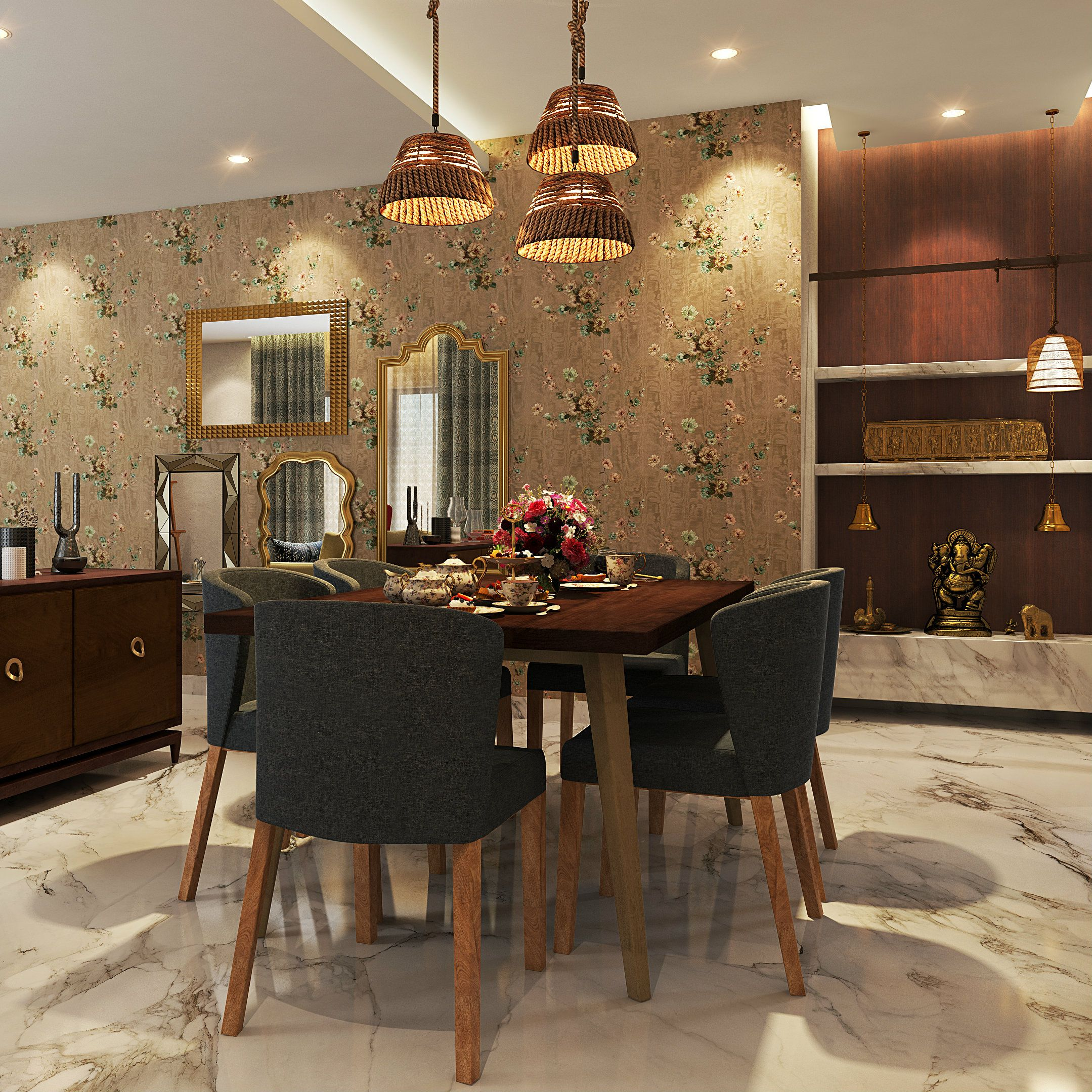 A Luxurious Dining Room With A Pooja Unit Beside Itcharming Beauteous Pendant Lighting For Dining Room Design Inspiration