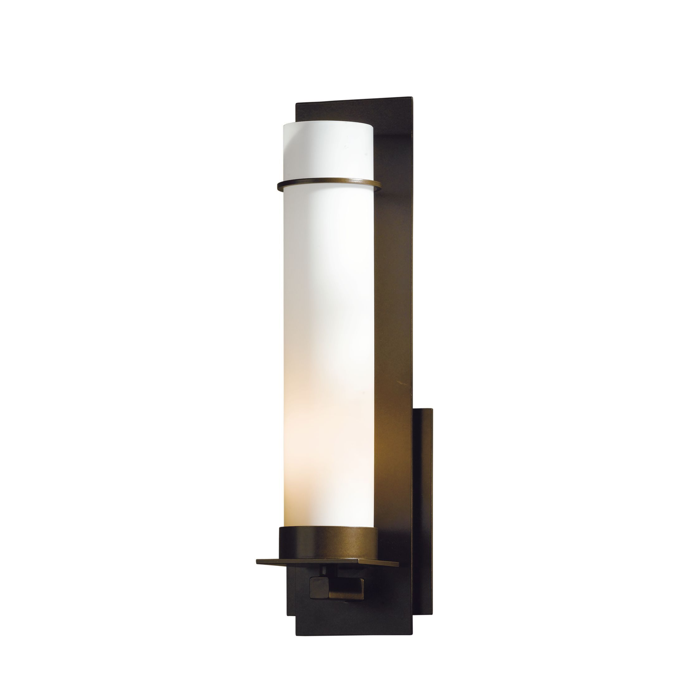 Hubbardton Forge New Town 1 Light Wall Sconce Finish Natural Lron Shade Color Opal Bulb Type Fluorescent
