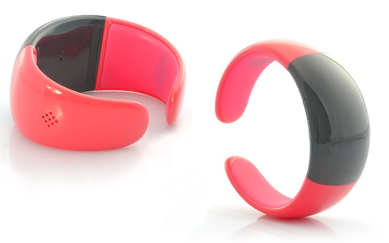 #Bluetooth Bracelet with Call Answer/Talk - Time Display, Vibration, Caller ID, Red