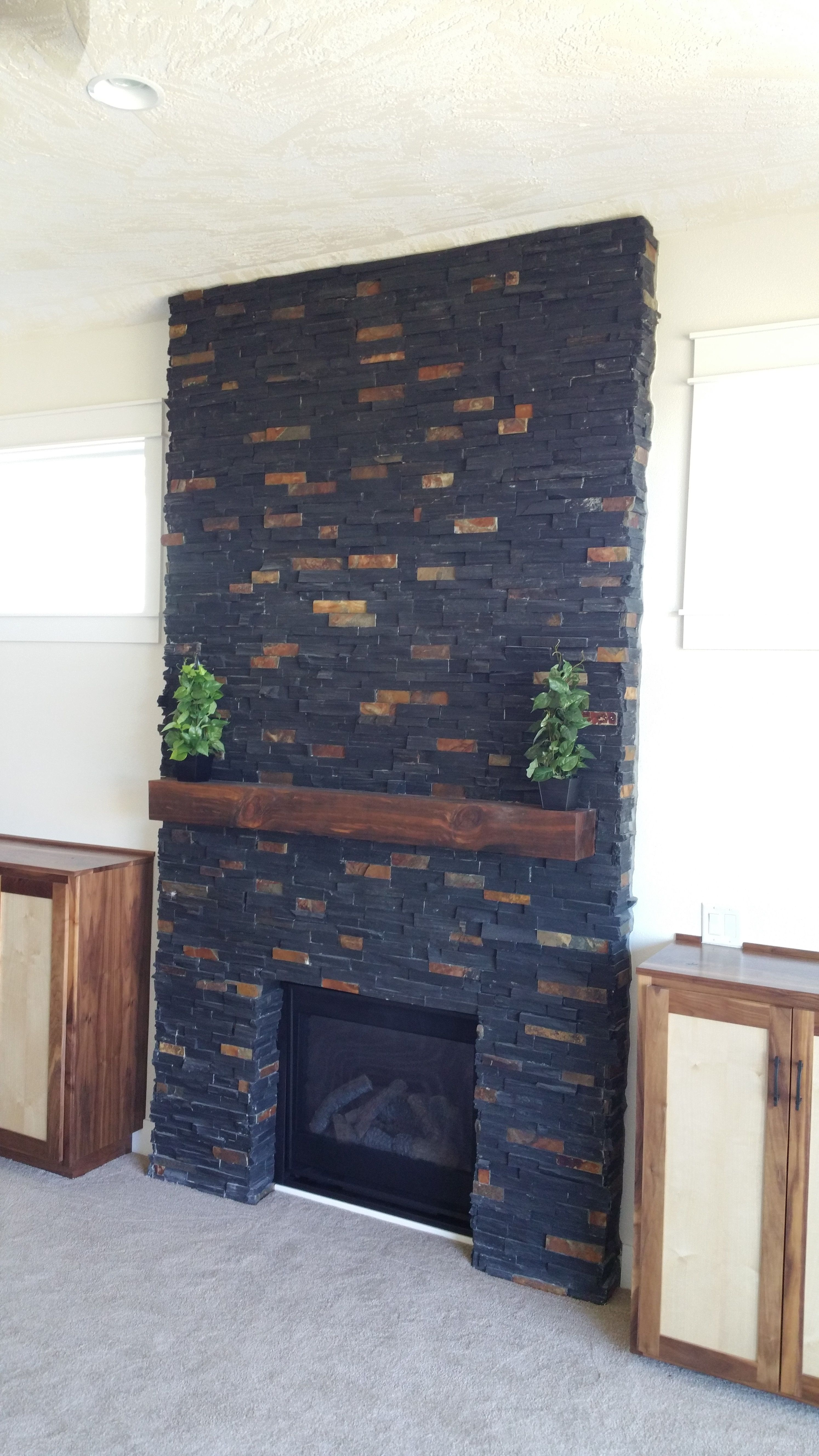 Charcoal Rust Ledger Stone Accent Wall And Fireplace Surround Black With Tones