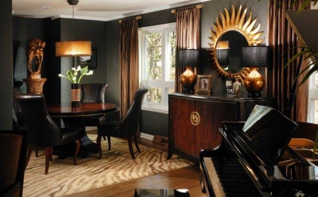 Wandfarbe Schwarz Wohnzimmereinrichtung Ideen Essbereich Hangeleuchte Eleganter Teppich