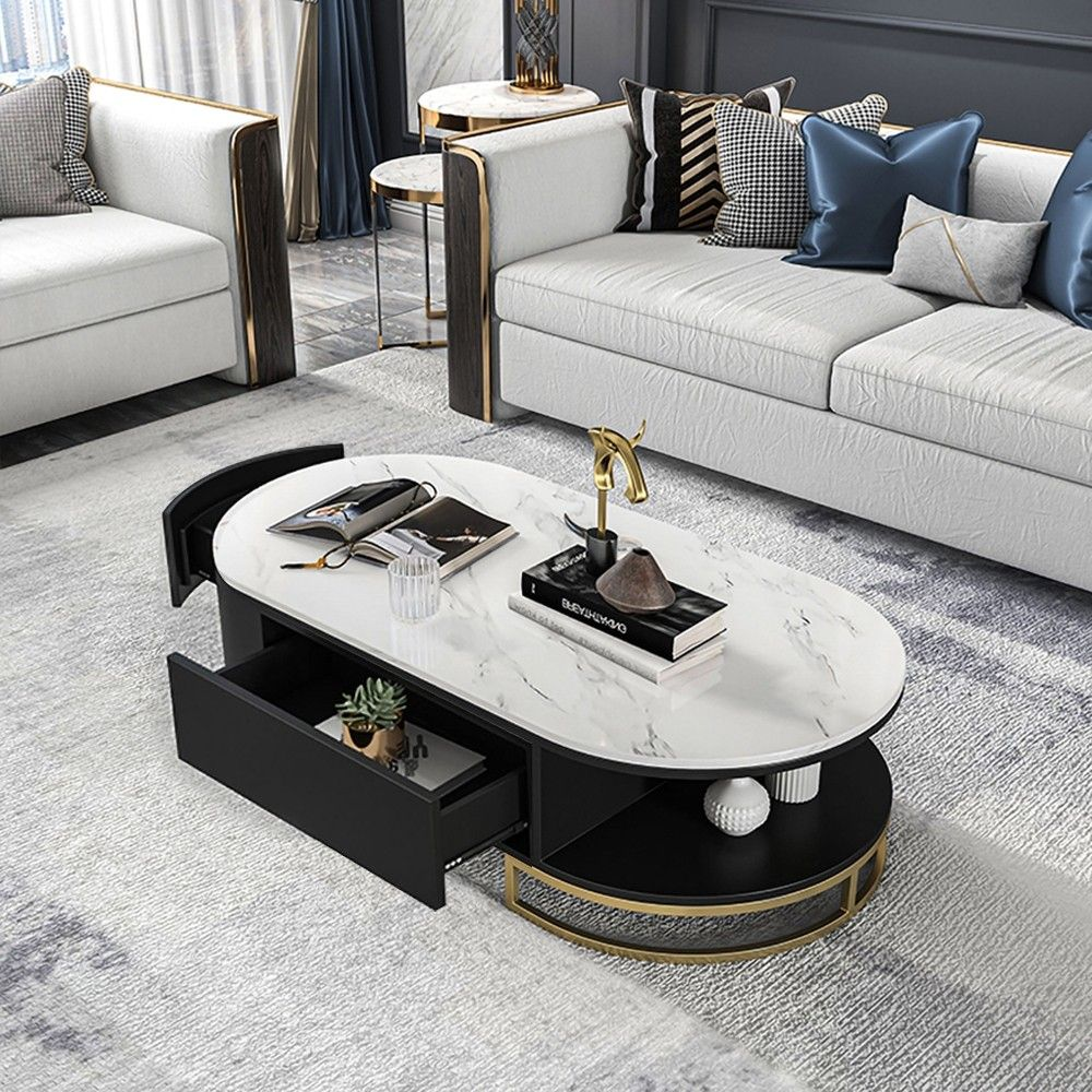 White Black Oval Storage Coffee Table With Drawers Stone Gold Base In 2021 Coffee Table With Drawers Coffee Table With Storage Gold Coffee Table [ 1000 x 1000 Pixel ]