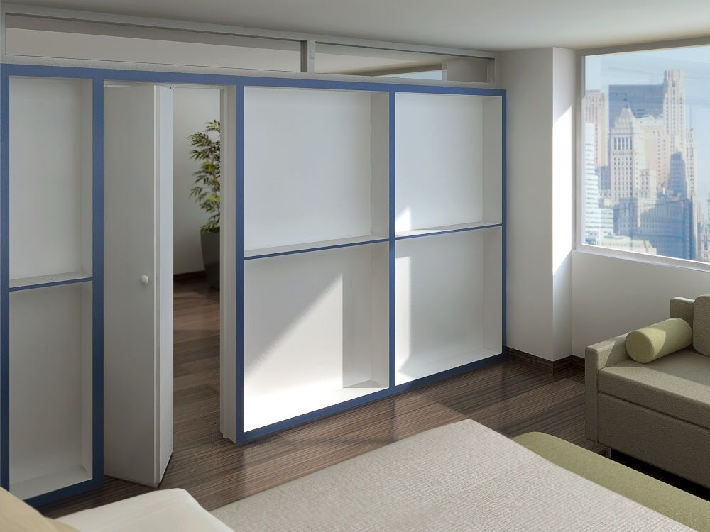 """bookcase wall Free standing 5"""" thick bookcase partition"""