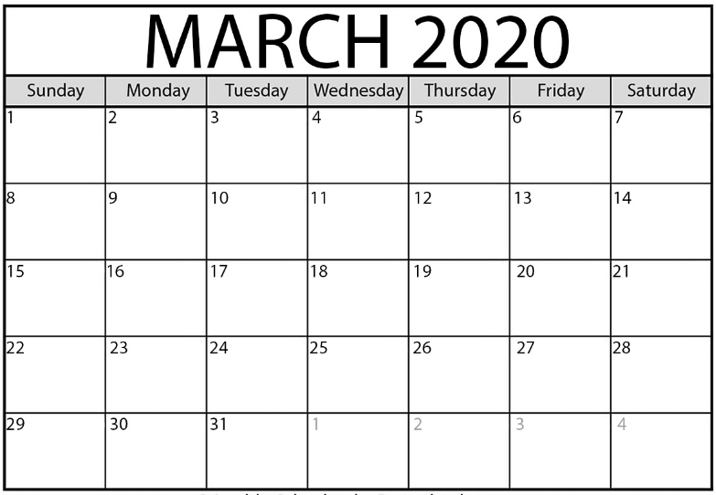 March Printable Calendar 2020.March 2020 Calendar Calendar March Free Calendar Template