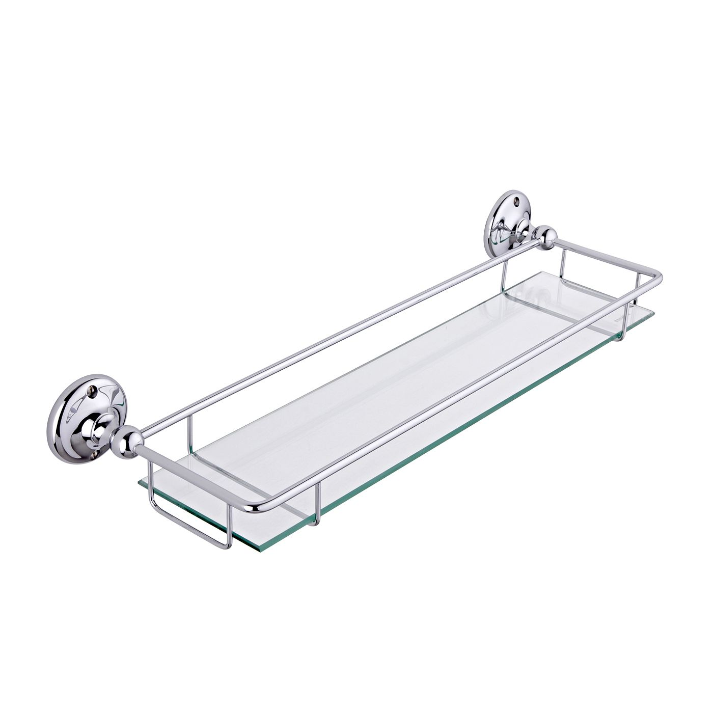Milano Ambience Glass Gallery Bathroom Shelf with Chrome Finish ...