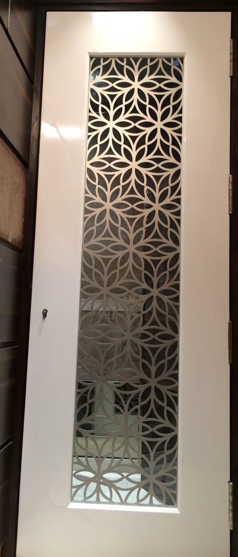 Custom made laser cut grill for main door in ms for a for Main door design for flat