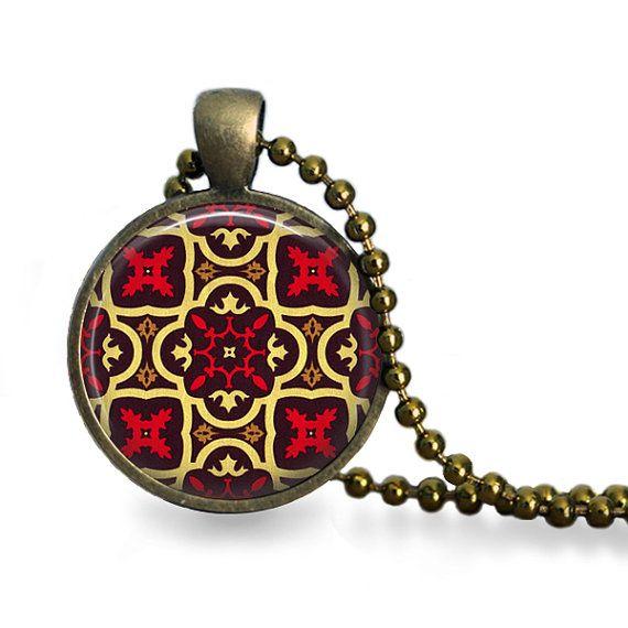 Moorish tile pendant necklace moroccan by ConvertibleGirlShop, $12.00
