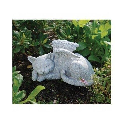 Cat Memorial Statue Angel Wings Kitten Pet Grave Marker Headstone Garden  Resin