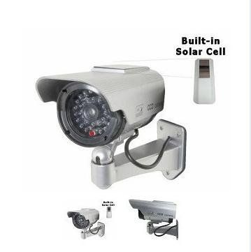 Silver security camera decoy with blinking ledsolar powered light silver security camera decoy with blinking ledsolar powered light and adjustable mount by babytree mozeypictures Choice Image