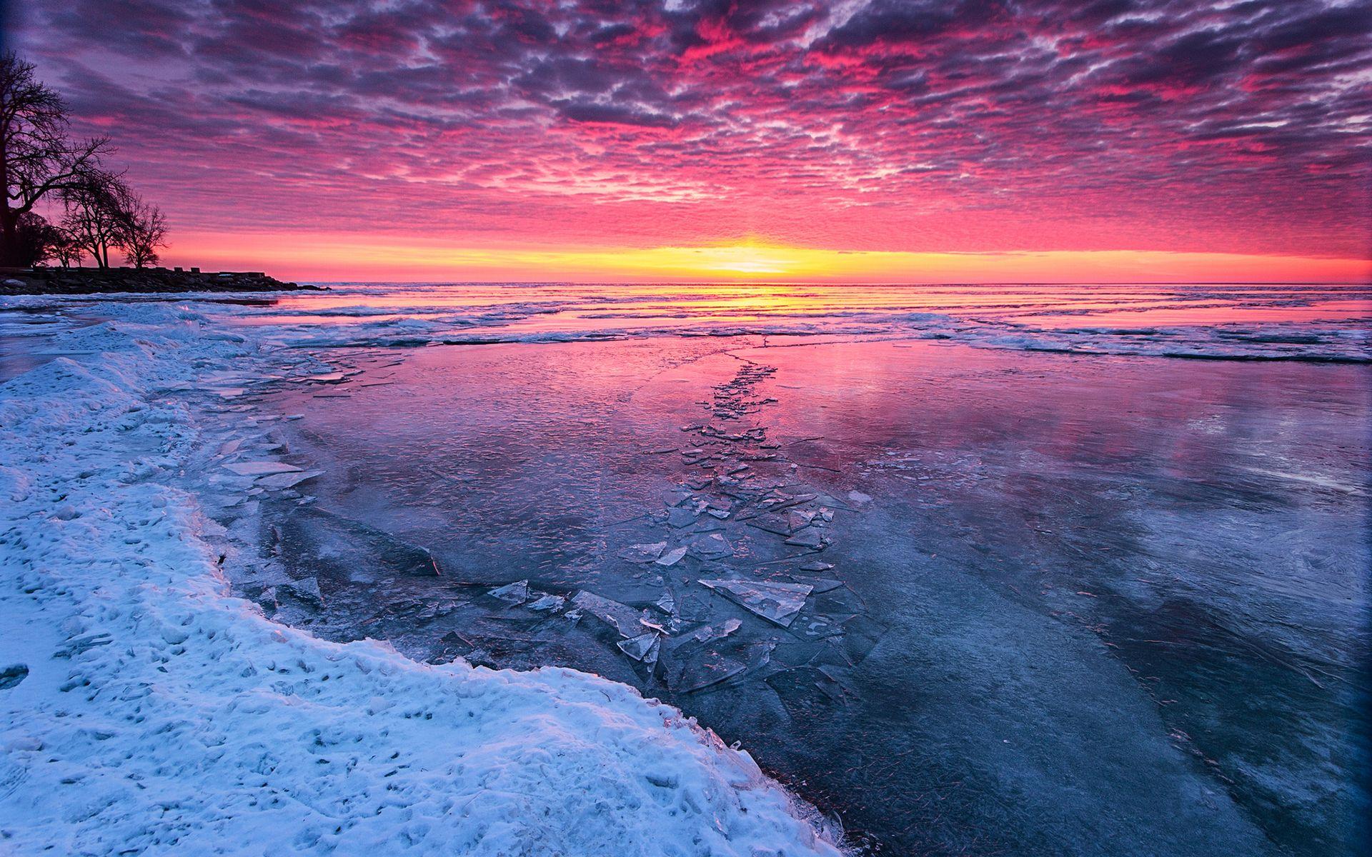 Amazing Colors Sunset Wallpaper Beach Wallpaper Winter Sunset Wallpaper sunset lake ice evening sky