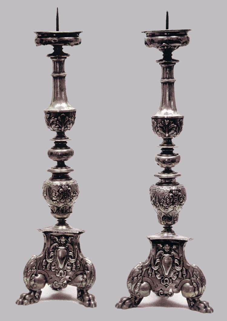 Pair of candlesticks  1610-30  Silver foil over a wooden core, heeight 71 cm  Museo della Città e del Territorio, Monsummano Terme