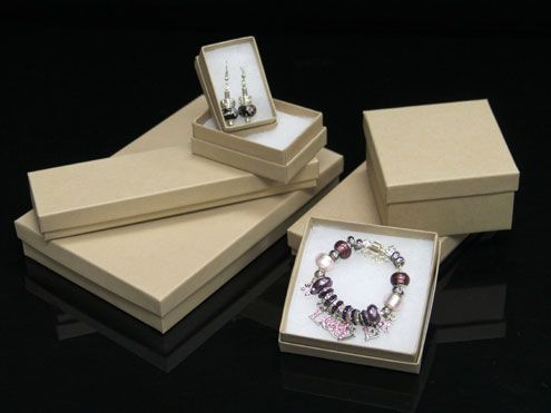 Natural Kraft Jewelry Boxes Cotton Filled EcoFriendly Jewelry