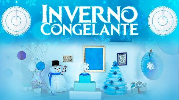 Kit decoração festa Frozen Azul e Branco
