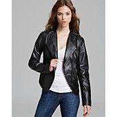 Laundry by Shelli Segal Asymmetric Leather Mixed Media Jacket