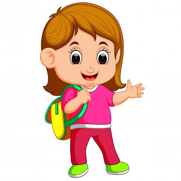 Dibujos Animados De Nina De La Escuela Caminando Infantil Desenhos Capa De Caderno