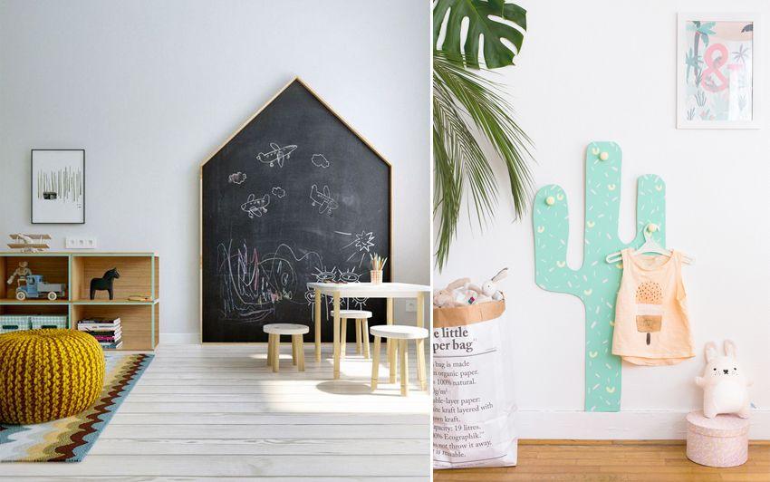 du bois dans une chambre d 39 enfant inspiration d coration tableau noir en forme de cabane et. Black Bedroom Furniture Sets. Home Design Ideas