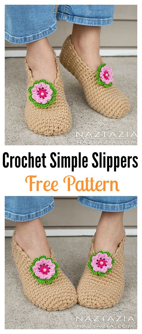 Simple Crochet Slippers Free Patterns | Patrones simples, Crochet ...