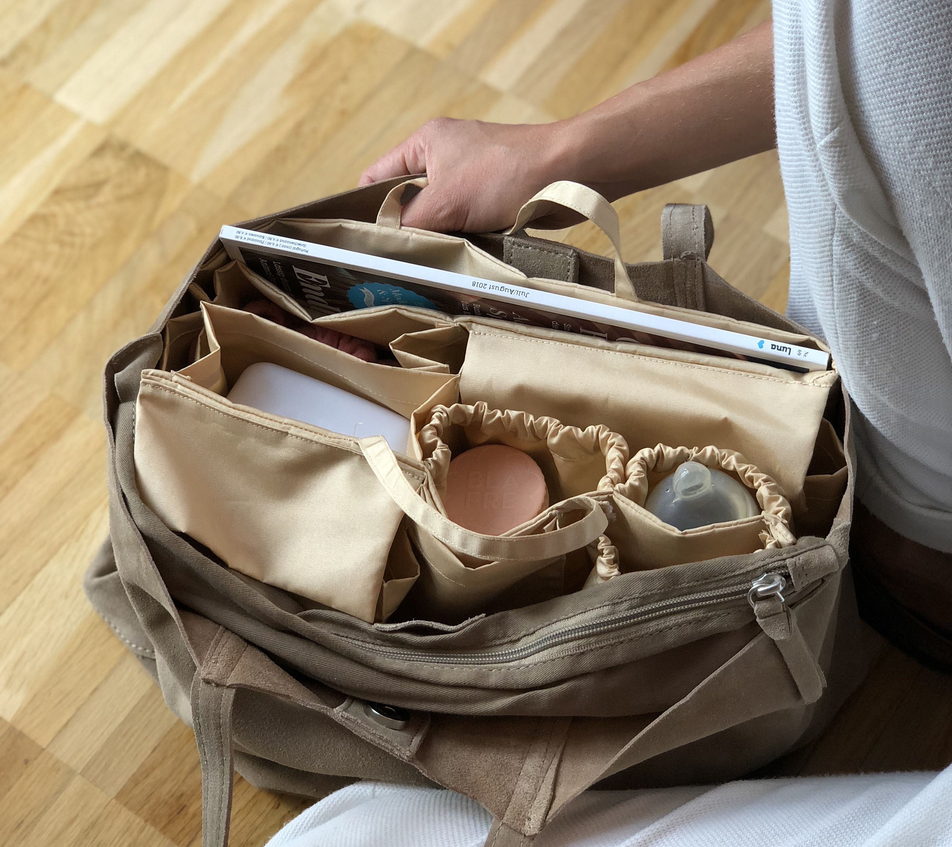 lilibell Wickeltasche Bag in Bag Grau