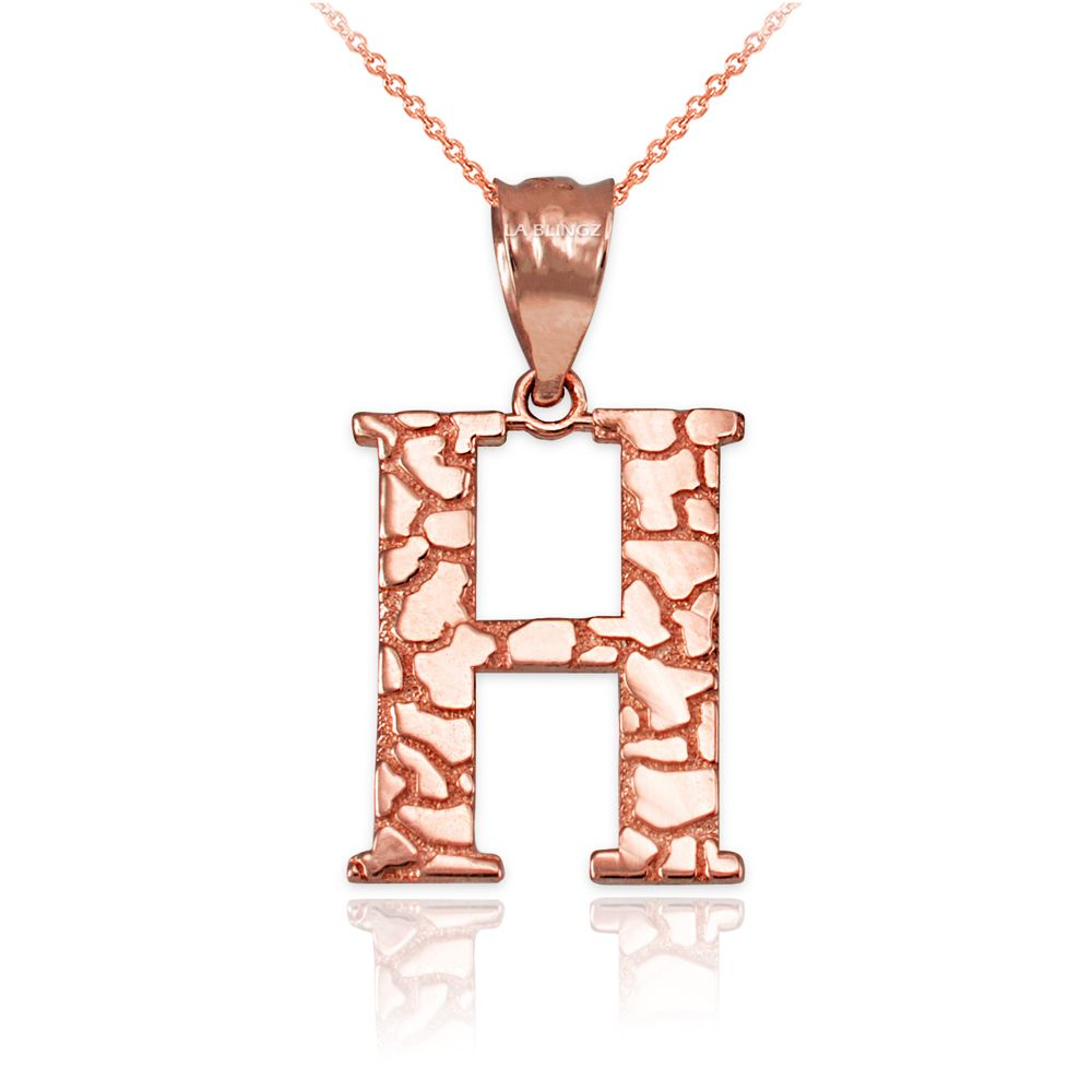 LA BLINGZ 10K Rose Gold Nugget Initial Letter P Necklace