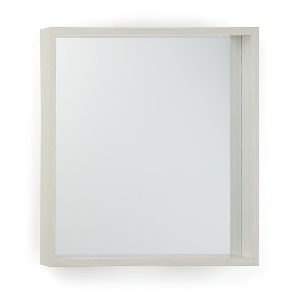 White Wash Gel Stain: Simpli Home Armand Square White Wash Stain Decor Mirror