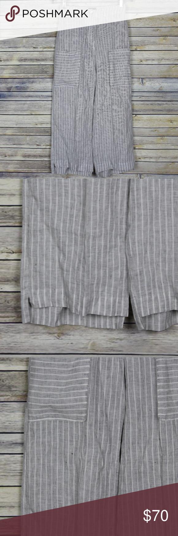 Oska Gytha Wash Cropped Linen Step Hem Trousers 0 Oska Lagenlook Gytha Wash 100 Linen Grey White Striped High Waist In 2020 Step Hem High Waisted Trouser Pants Oska