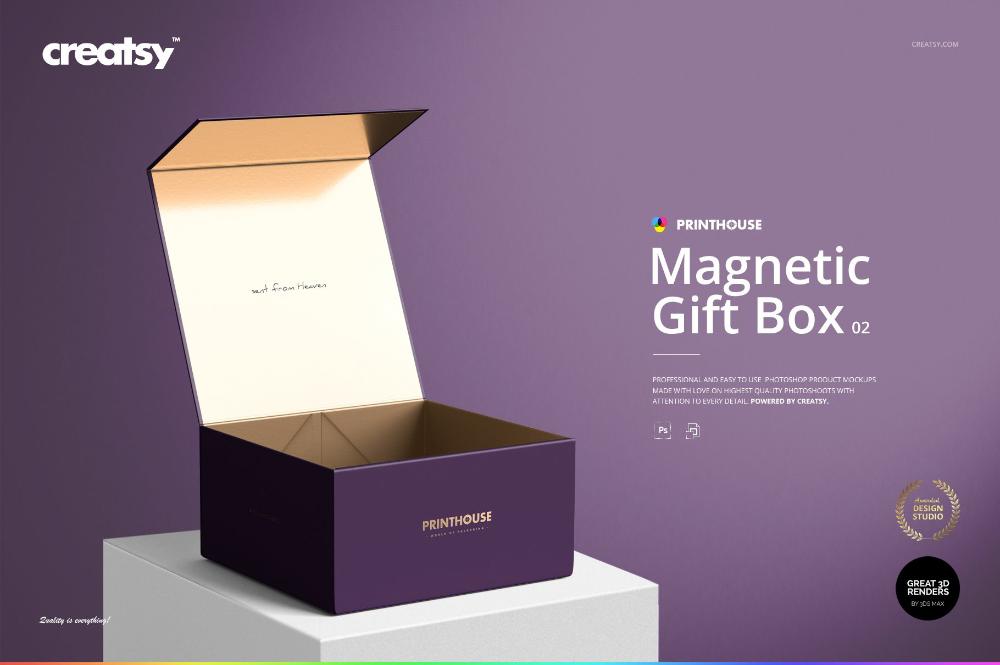 Download Magnetic Gift Box Mockup Set 02 On Behance Magnetic Gift Box Box Mockup Bag Mockup