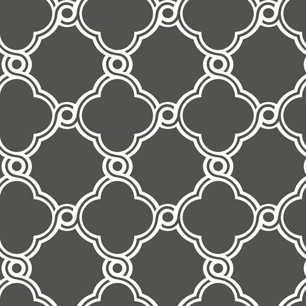 White With Dark Grey Open Trellis Wallpaper