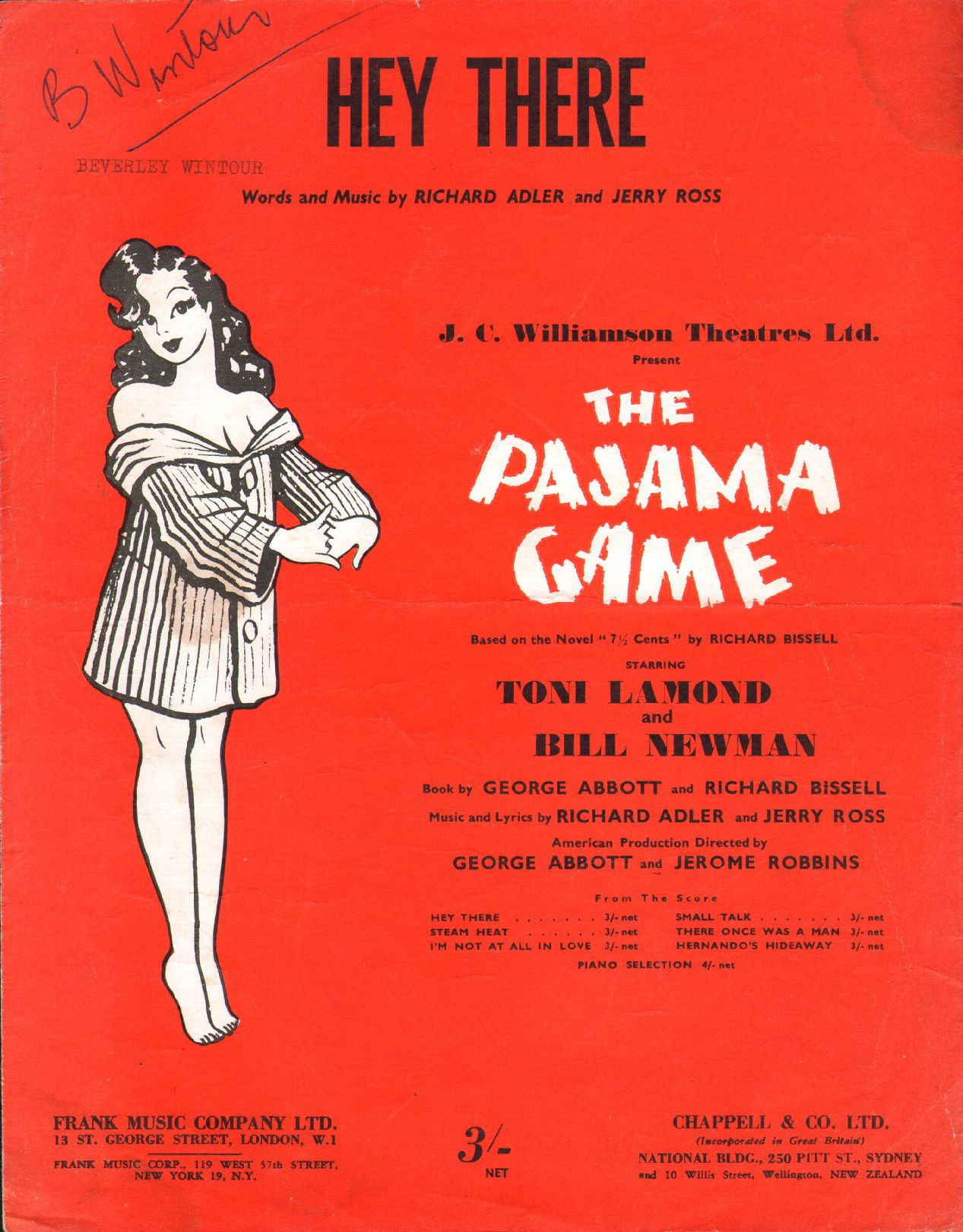 Hey There. 1954. Words & Music by Richard Adler & Jerry Ross. A show tune from the musical play The Pajama Game, it was introduced by John Raitt in the original production and was subsequently recorded by a number of artists including Rosemary Clooney and  Sammy Davis. Jr. Featured here from the Australian show starring Toni Lamond & Bill Newman. Other songs from the score are; Steam Heat, Hernando's Hideaway, Small talk, There Once Was A Man and I'm Not At All In Love.