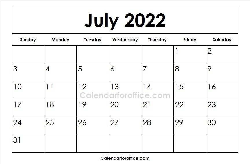 Printable 2022 July Calendar Designs Calendar Template May Calendar Printable August Calendar