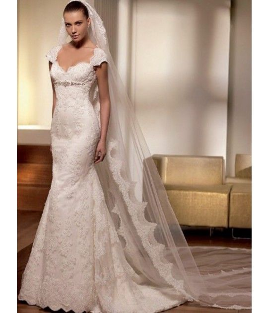 Beading Satin Lace Cap Sleeves Sweep Train Mermaid Wedding Dress ...