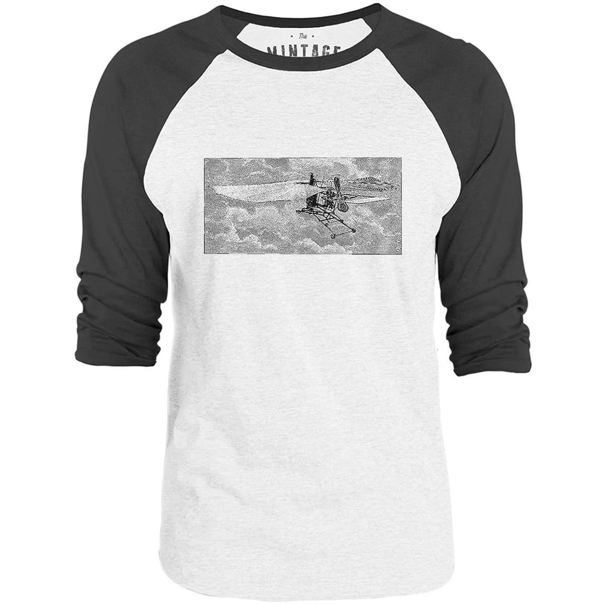 Mintage Prototype Flying Machine 3/4-Sleeve Raglan Baseball T-Shirt (White / Concrete)